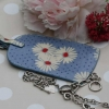 Gisela Graham vintage floral oilcloth luggage tag - blue daisy