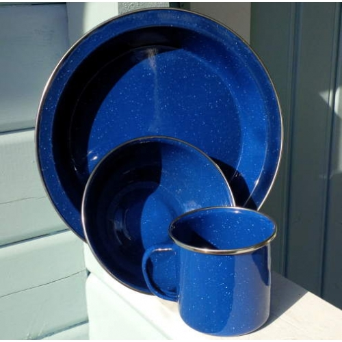 Blue Enamel Mug Bowl And Plate Camping Set