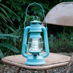 Vintage style  large storm lantern - Blue, LED, battery operated