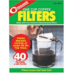 Coghlan's One Cup Coffee Filters 40 Pack - Fresh Brewed At Camp Or On The Trail