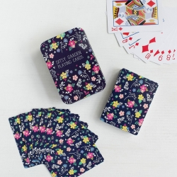 "Travel playing cards in tin ""Blue Ditsy Garden"""