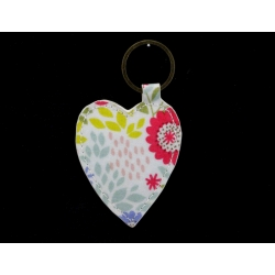 Gisela Graham PVC cotton oilcloth floral song key ring