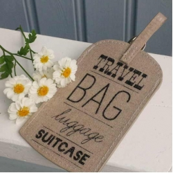 Gisela Graham Linen Text oilcloth luggage tag