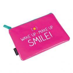 Happy Jackson hot pink 'Wake Up Make Up Smile!' make up beauty pouch