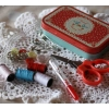 Vintage doily travel mini sewing kit tin