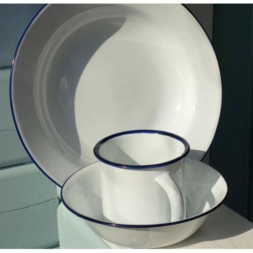 White Camping Enamel Mug Plate And Bowl Set