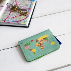 World map travel card wallet