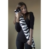 Yuyu luxury black and white zebra fleece long hot water bottle