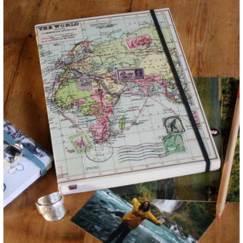 World map a5 travel journal by wilf and wolf lined paper sciox Images